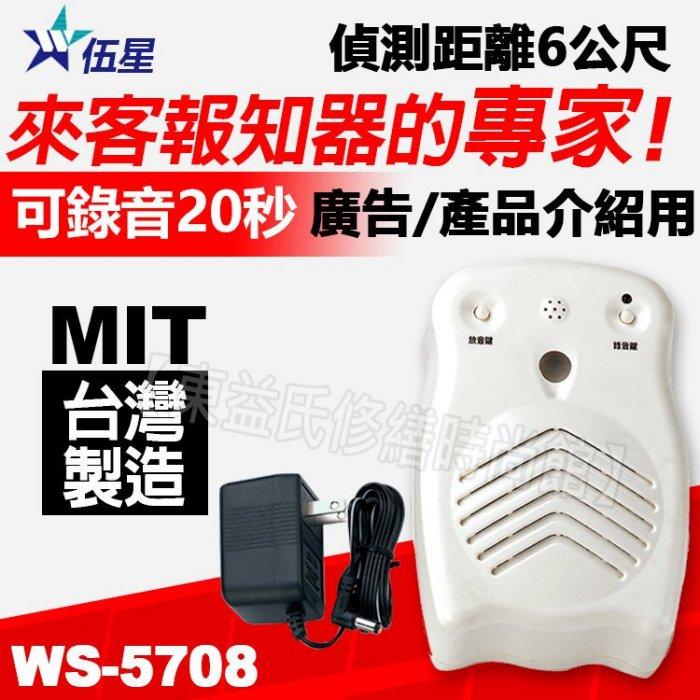 <br/><br/>  未稅1048 伍星 WS-5708 貓頭鷹可錄式來客報知器 自行錄音20秒 紅外線自動感應 可外接喇叭 【東益氏】<br/><br/>