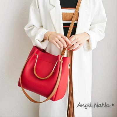 超取$399免運 |側背包-高質感簡約純色百搭3way水桶包手提包斜背包  AngelNaNa 【BA0321】