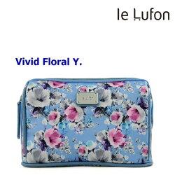 【le Lufon】牡丹花卉印花布拼接皮革 化妝包/手拿包/萬用包/多功能淑女隨身包-Vivid Y (共6色)