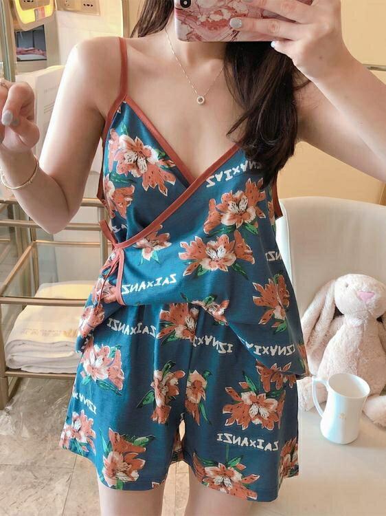 睡衣女夏季薄款吊帶純棉家居服可愛日系短袖兩件套裝和服性感花朵-莎韓依