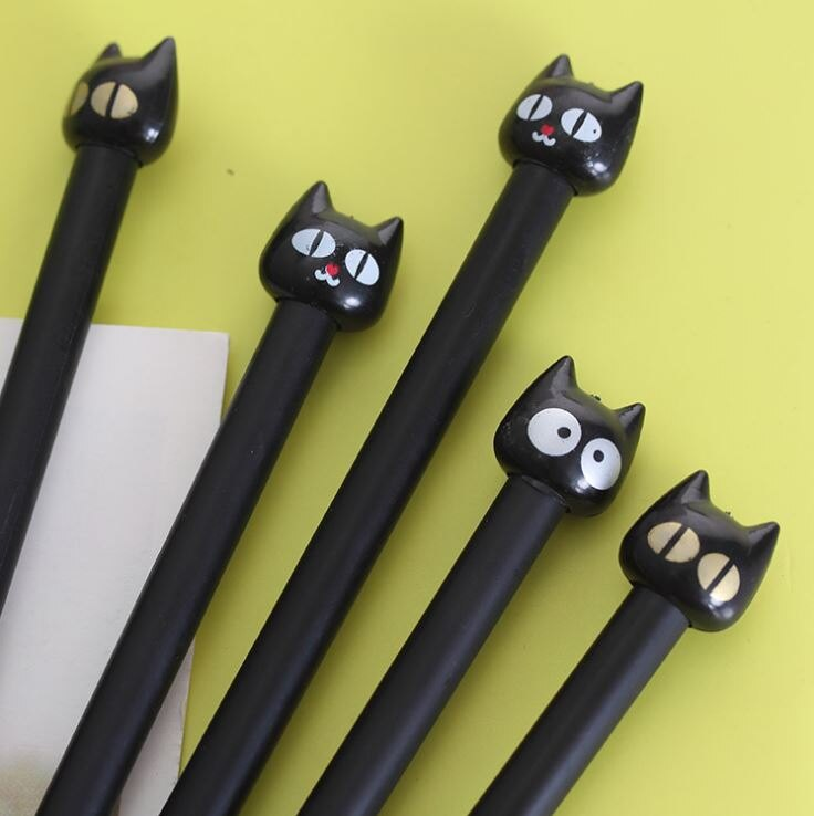 [Hare.D] 韩国 文具 中性筆 大眼猫 黑色 0.38 黑貓公仔中性筆