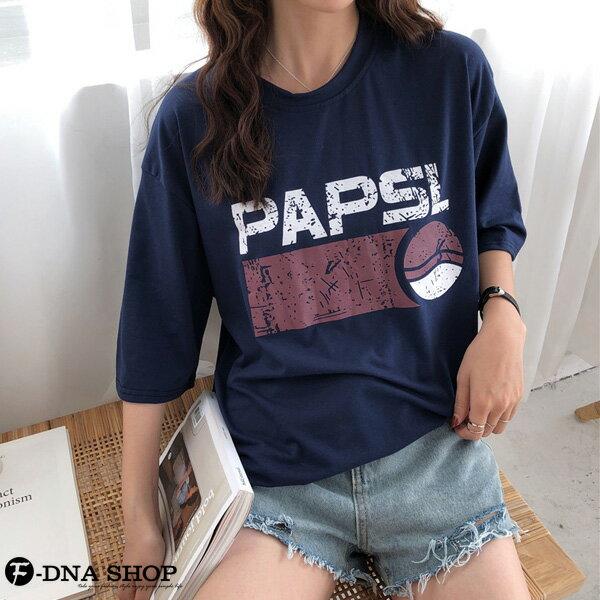 F-DNA★PAPSL拓印英文印字圓領五分袖上衣T恤(2色-M-2XL)【ET12705】 1