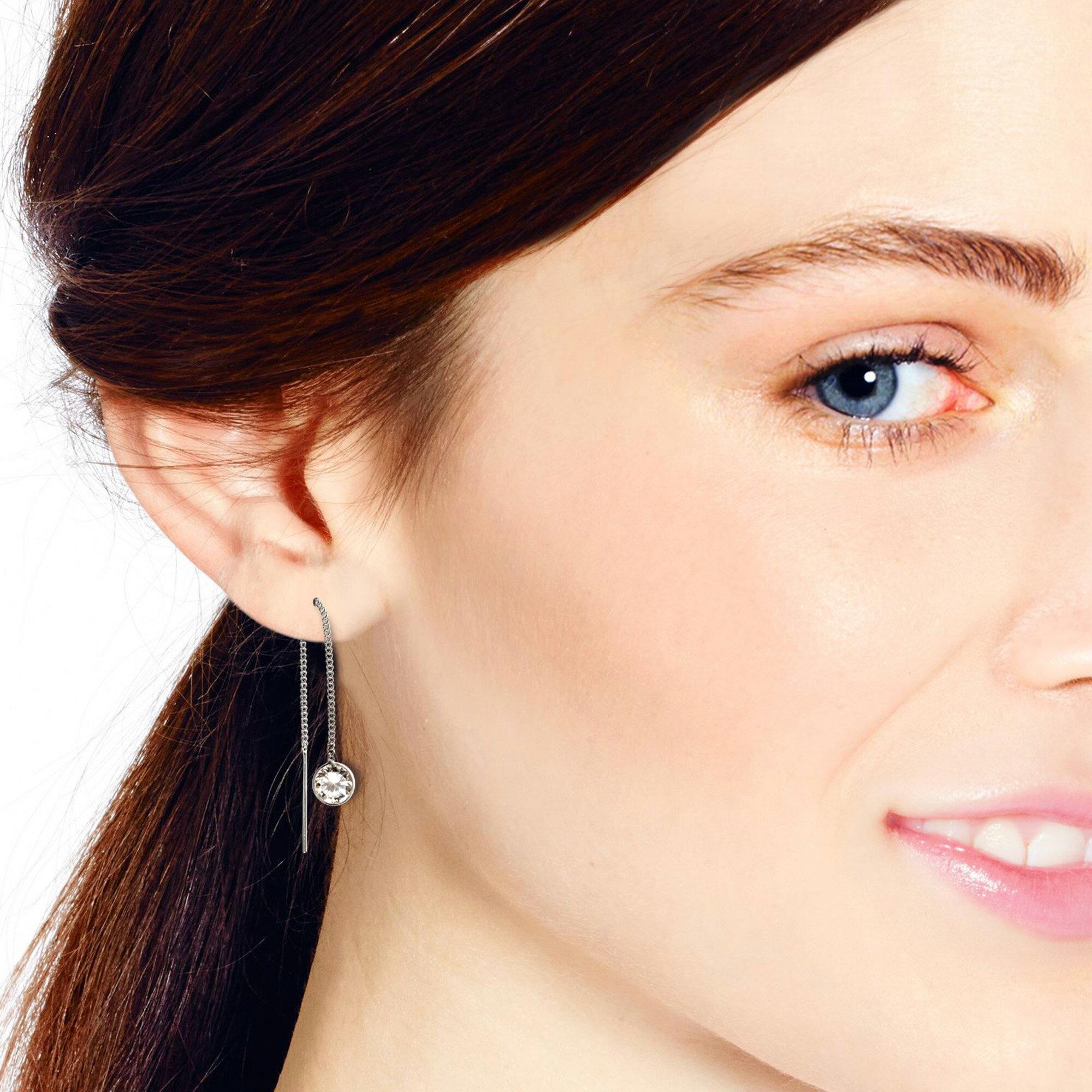 Simple Round CZ Thread Slide Thru Strling Silver Earrings (Thailand) 3