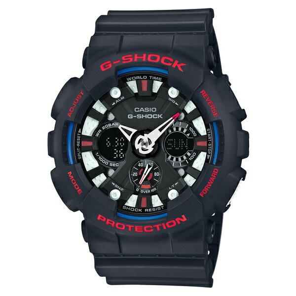 CASIO G-SHOCK GA-120TR-1A黑紅儀表雙顯流行腕錶/51mm