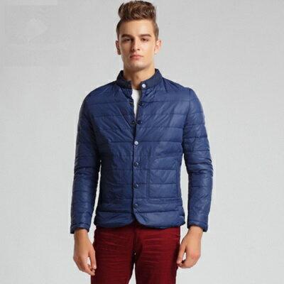 ☆羽絨外套立領夾克-時尚個性單排扣保暖男羽絨衣3色73ka87【獨家進口】【米蘭精品】