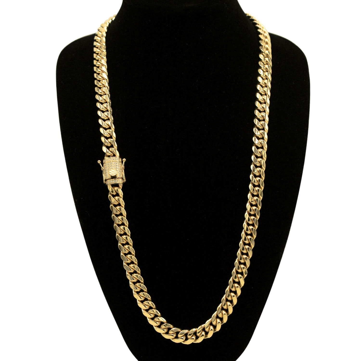 c7ef1a8149d5c Cuban Link Necklace Bracelet Set Gold Plated Cubic Zirconia Box Clasp Miami  Cuban Chain Stainless Steel Fashion Jewelry 10mm 12mm 14mm