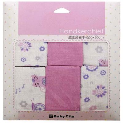 Baby City 超柔紗布手帕6入- 紫【悅兒園婦幼生活館】