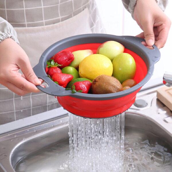 圓形矽膠折疊洗菜籃(不挑色)SIN66529