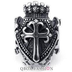 《 QBOX 》FASHION 飾品【W10024826】精緻個性皇冠盾牌十字架鑄造316L鈦鋼戒指/戒環