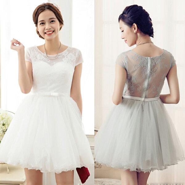 灰姑娘[6703-S]*後背鏤空性感蕾絲公主短袖蓬蓬裙短版小禮服~