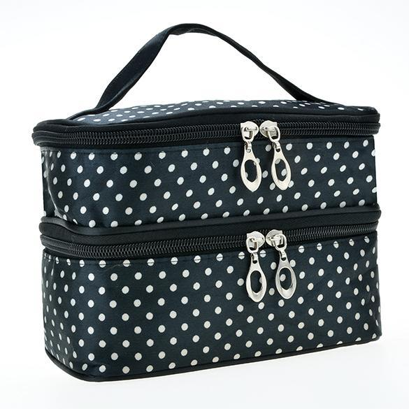 Portable Double-Deck Toiletry Bag Dot Pattern Makeup Bag 0