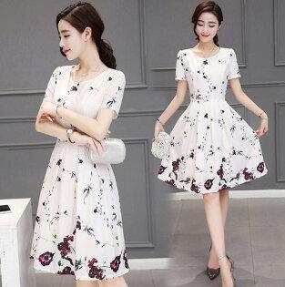 韓版 春夏新款時尚優雅印花雪紡連身裙 洋裝 S~2XL 現貨+預購 韓風衣舍
