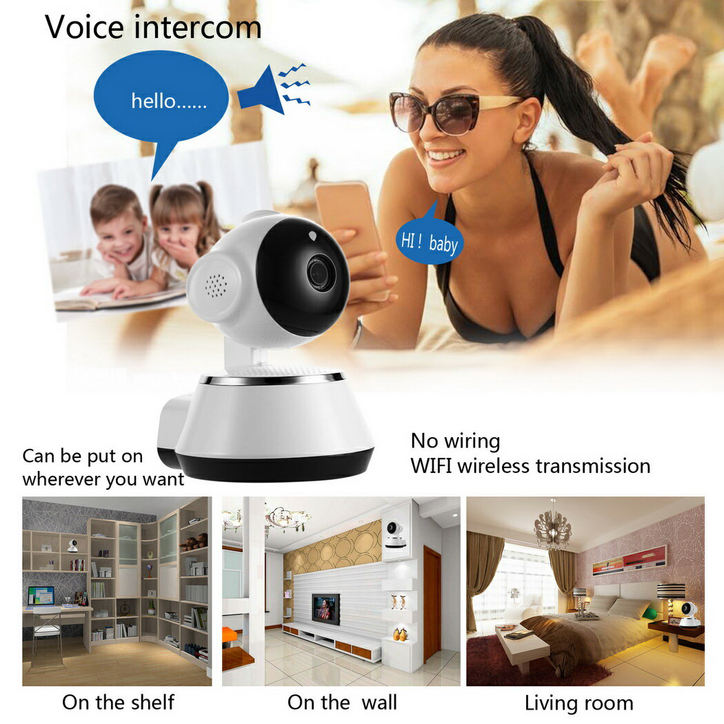 Wireless WiFi Baby Monitor Alarm Home Security IP Camera HD 720P Night Vision US Plug White 2
