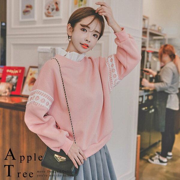 蘋果樹AppleTree:AT日韓-韓國荷葉領拼接造型刷毛衛衣【710058】