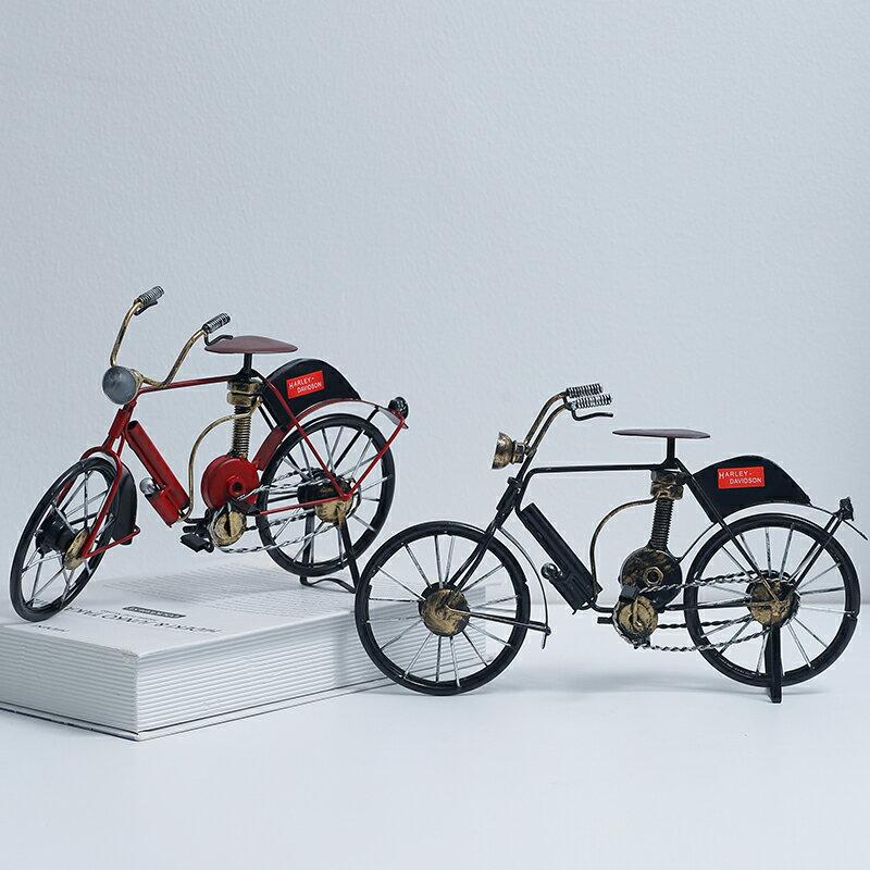 北歐創意鐵藝自行車桌面裝飾擺件酒櫃客廳奶茶店個性工藝品小擺設SGBS3 愛尚優品