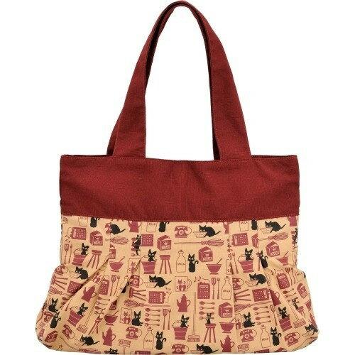 【真愛日本】17121300006 復古貝形手提袋-JIJI雜貨屋 宮崎駿  魔女宅急便 黑貓 收納袋