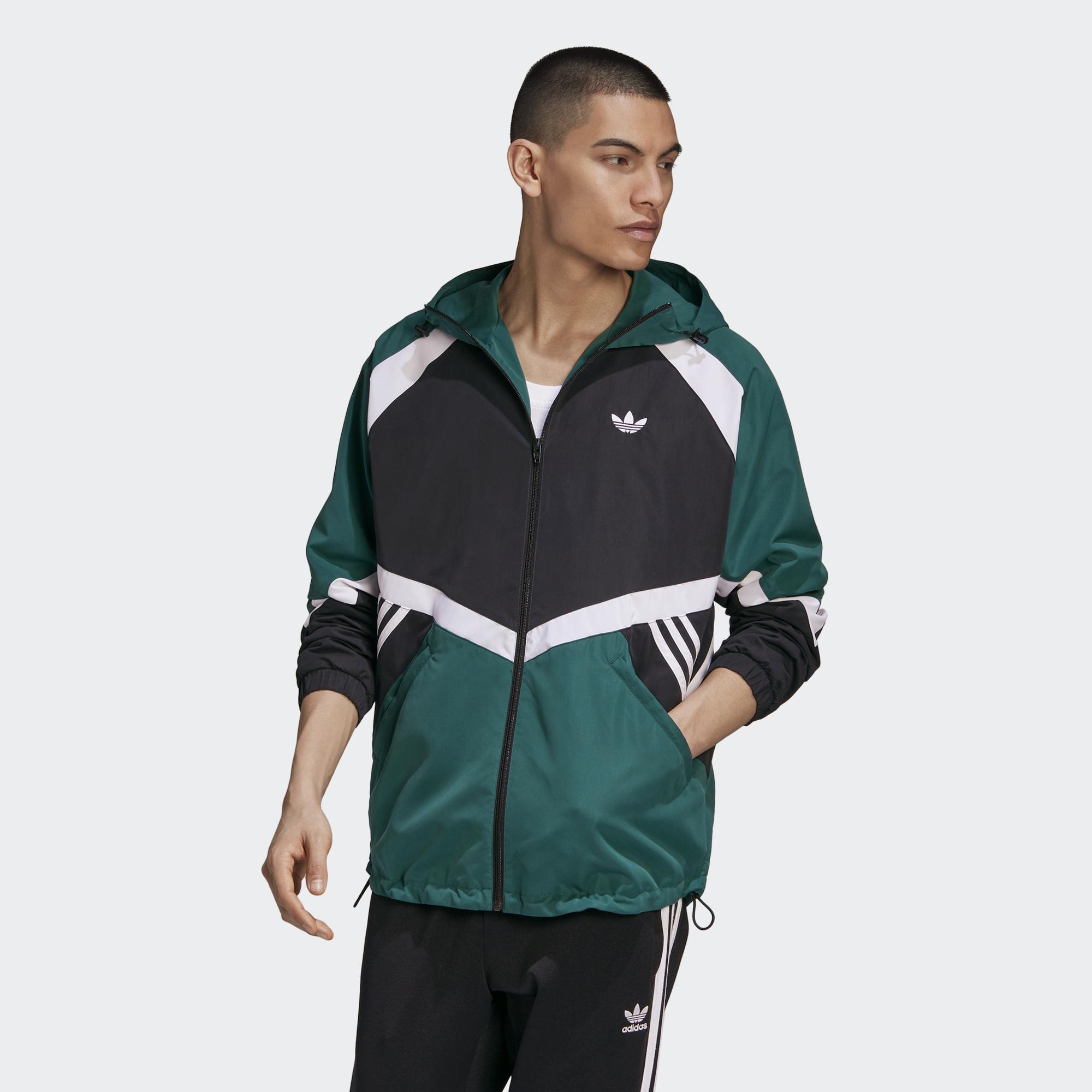 Adidas ORIGINALS SPRT 男裝 外套 連帽 風衣 三葉草 可調式下襬 撞色 黑綠【運動世界】GJ6736