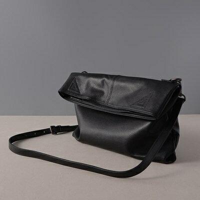 肩背包真皮手提包-黑色牛皮摺疊簡約女包包73ut41【獨家進口】【米蘭精品】 1