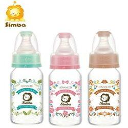 【限量送馬卡龍萬用蓋(1入)】台灣【Simba 小獅王】蘿蔓晶鑽標準玻璃小奶瓶120ml