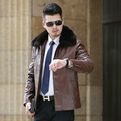 ★皮衣夾克外套-冬季大毛領商務純色男夾克2色73pn13【獨家進口】【米蘭精品】 0