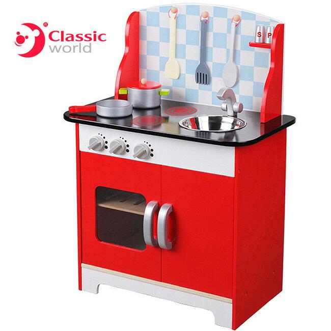 【德國 classic world】客來喜木頭玩具-家家酒系列 大型廚房組 CL4118