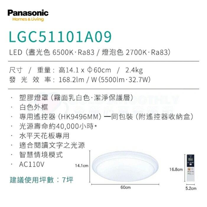 ☼金順心☼ ~原廠保固 Panasonic 國際牌 LGC51101A09 32.7W LED 遙控 吸頂燈