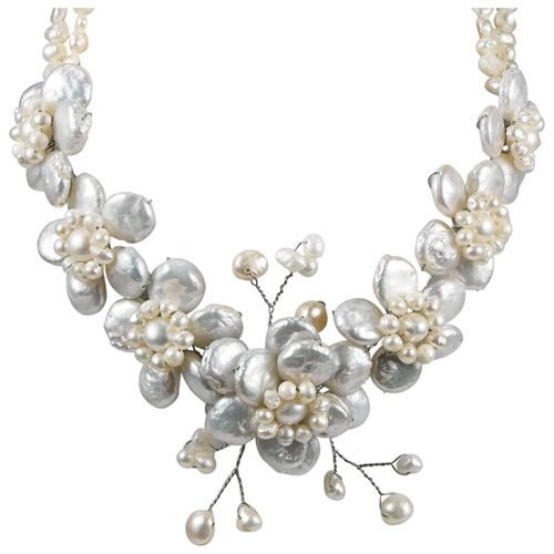 White Coin Pearl Cluster Sakura Flower .925 Silver Necklace 2