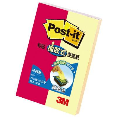 【3M】 R31-2 螢光混色抽取式便利貼/便條紙75x25mm (2本/包)