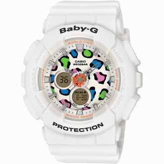CASIO BABY-G BA-120LP-7A1白豹紋雙顯流行腕錶/白面43.4mm