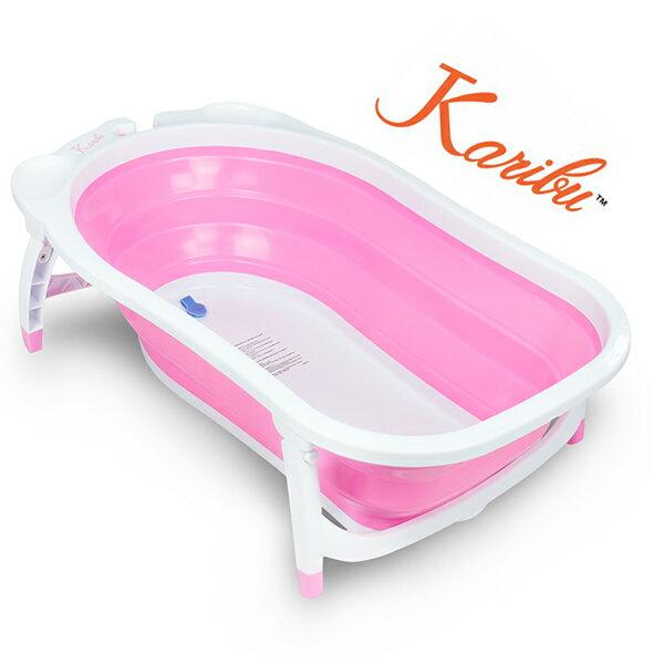 【Karibu Tubby】 嬰幼兒折疊式澡盆 / 浴盆 / 洗澡盆 (櫻花粉)