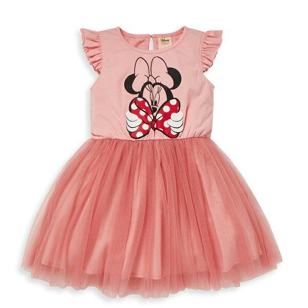 Disney米妮系列甜心公主蓬紗洋裝-粉紅