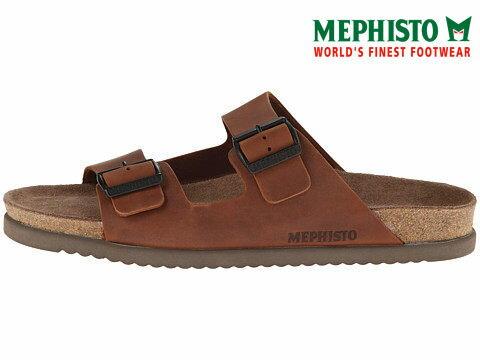 Mephisto 法國類勃肯皮革休閒涼拖鞋 咖啡 3