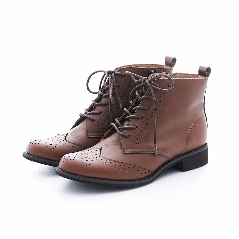 【B2-16819L】真皮綁帶牛津短筒靴_Shoes Party 7