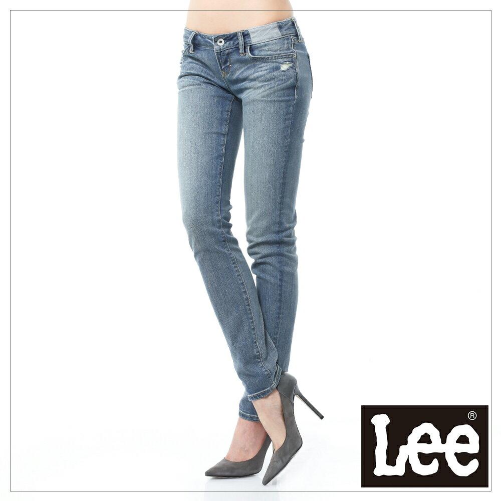 【全館免運 | 滿額↘再折$150】Lee 403 超低腰合身窄管牛仔褲 101+ 女款 中藍