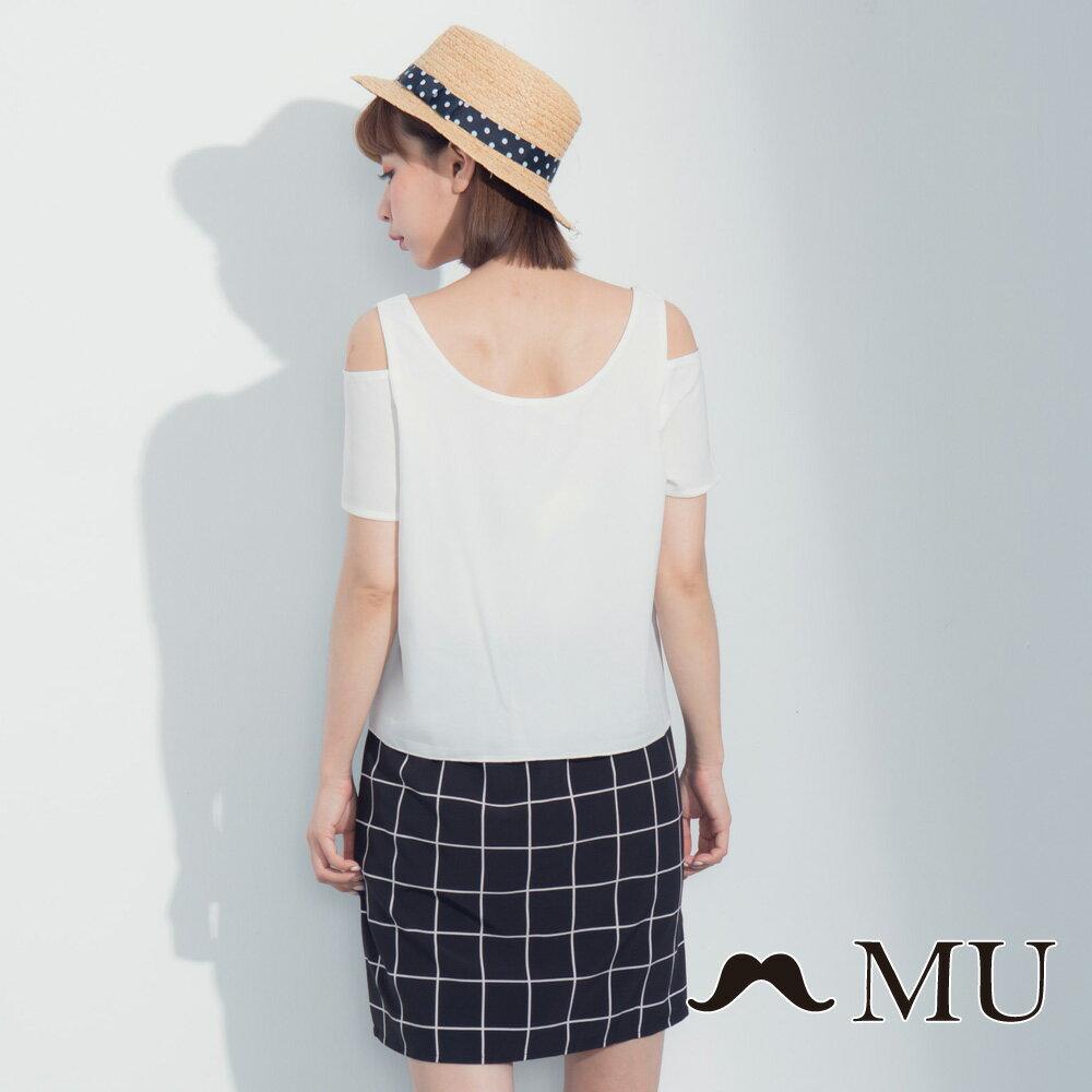 【MU】假兩件露肩格紋裙擺洋裝 7317165 1