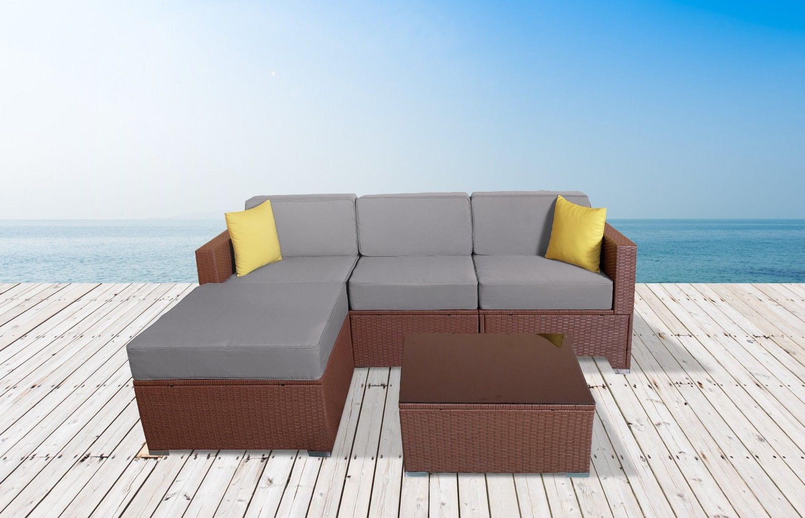 Enjoyable Mcombo 5Pc Outdoor Rattan Sofa Wicker Chair Patio Furniture With Table Sectional Set Grey 6081 5Pc Ey Machost Co Dining Chair Design Ideas Machostcouk