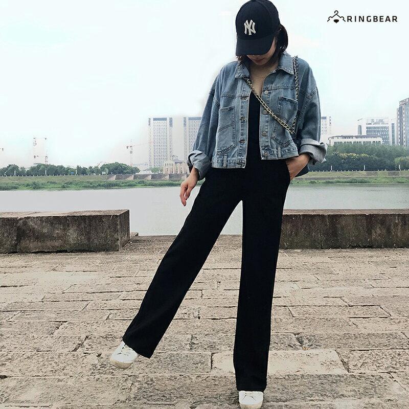 直筒褲--超顯瘦時尚優雅墬感寬鬆百搭鬆緊高腰直筒長褲(黑S-5L)-P146眼圈熊中大尺碼 8