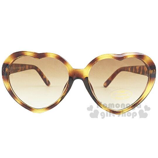 〔小禮堂〕Hello Kitty 兒童太陽眼鏡《透明.玳瑁棕.心型》安全抗UV鏡片