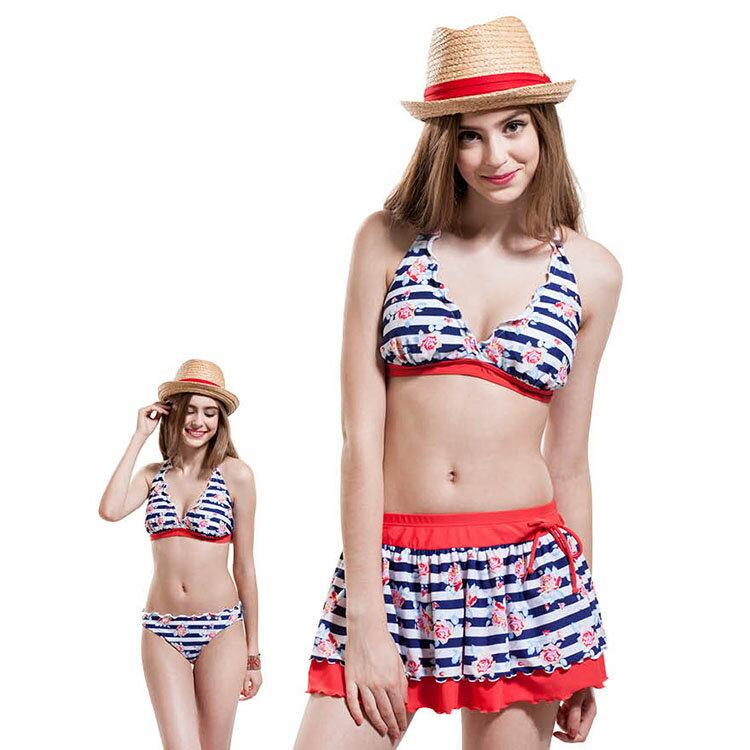 ◆Let's Jet 雷氏吉兒◆ 玫瑰點綴海軍風bikini比基尼泳裝 - 型號1794-07