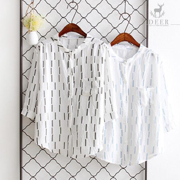 襯衫DEER韓版小立領條紋寬鬆襯衫 - 限時優惠好康折扣