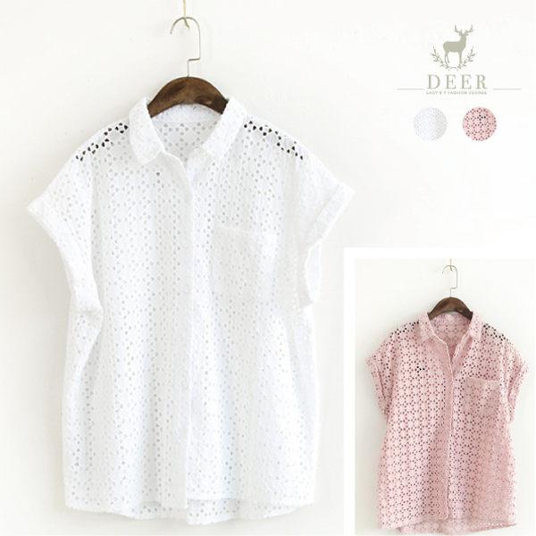 襯衫 DEER 森林系棉質鏤空花紋襯衫 - 限時優惠好康折扣