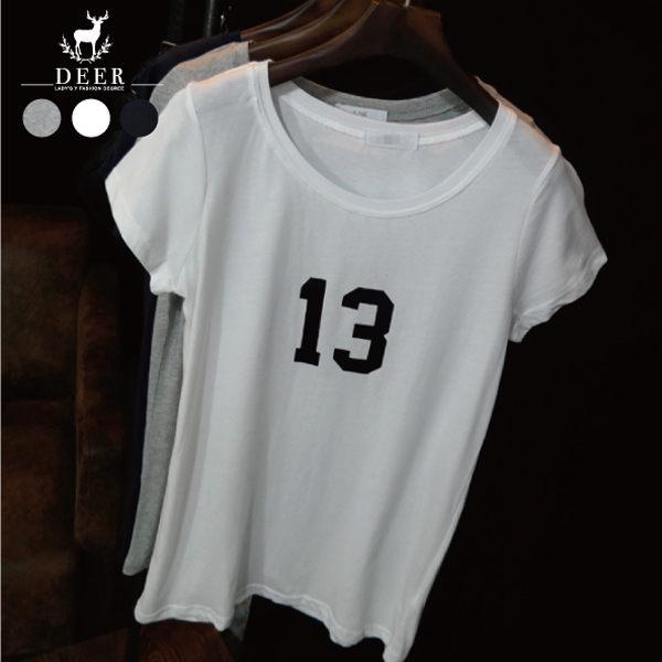 T恤 DEER 簡約修身素色數字印花短T - 限時優惠好康折扣