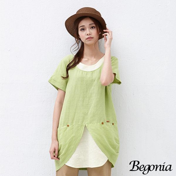 上衣 Begonia 木釦小口袋配色長版棉麻上衣(共二色) - 限時優惠好康折扣