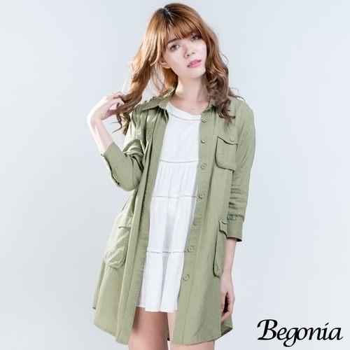 襯衫 Begonia 多口袋長版棉麻襯衫(共二色) - 限時優惠好康折扣