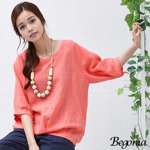 上衣 Begonia 大圓領袖綁帶寬鬆棉麻上衣(共二色)