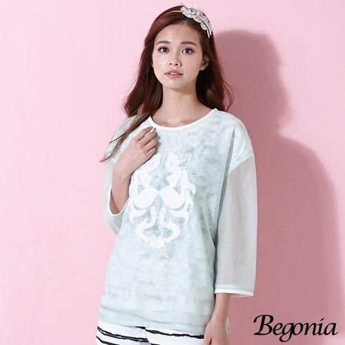 上衣 Begonia 刺繡烏干紗蕾絲假兩件上衣(共二色) - 限時優惠好康折扣