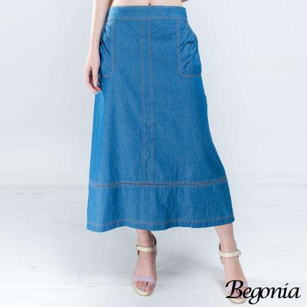 長裙 Begonia 縫線剪裁縷空擺口袋牛仔棉長裙