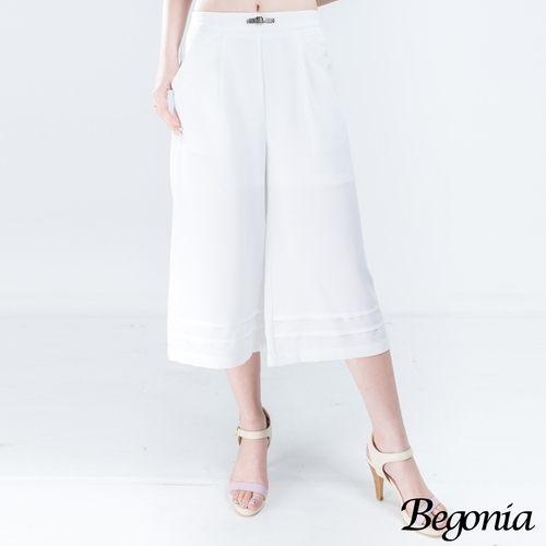 寬褲 Begonia 造型皮釦壓褶口袋七分寬褲(共二色) - 限時優惠好康折扣