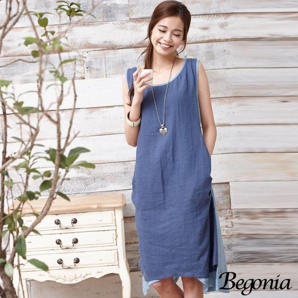 洋裝 Begonia 配色抓皺拼接不規則擺無袖洋裝 - 限時優惠好康折扣