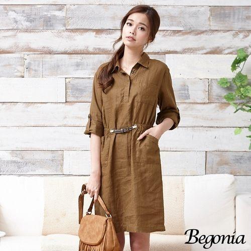 洋裝 Begonia 造型腰帶口袋兩穿式洋裝(共二色) - 限時優惠好康折扣